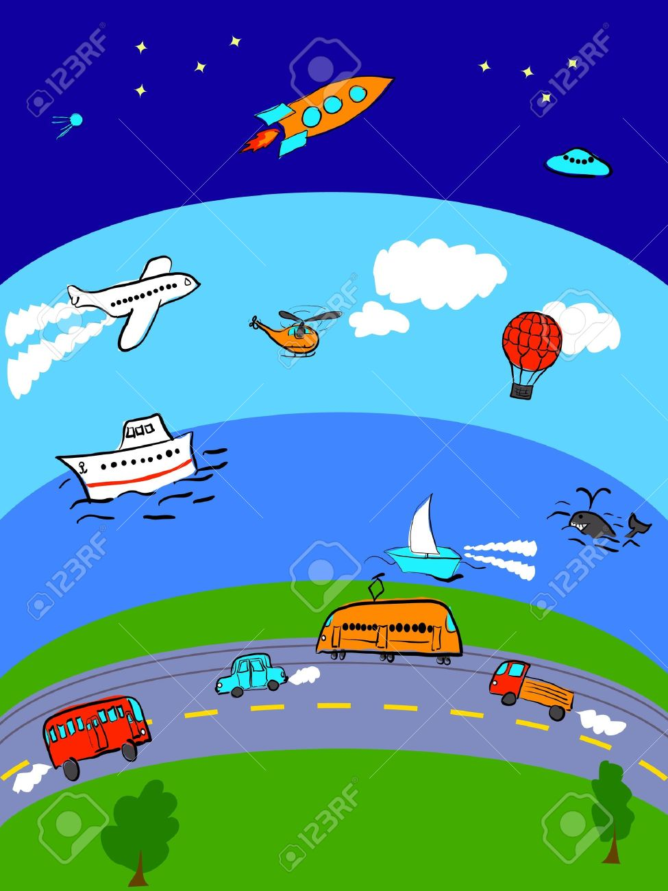 Different Transport For Land, Sea, Air And Space Royalty Free.