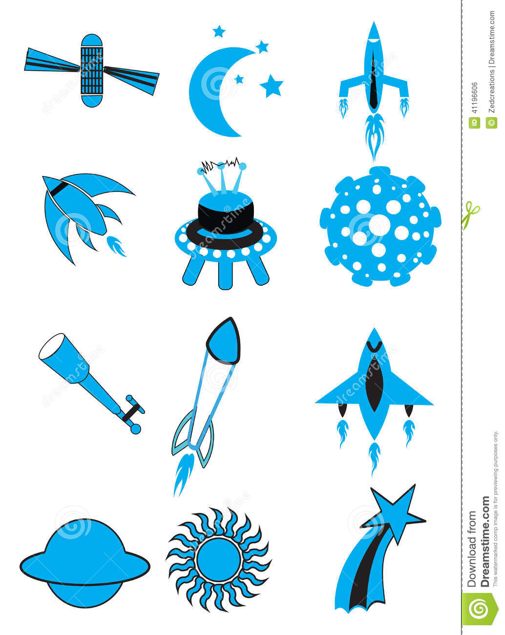 Air And Space Icon Set Stock Photo.