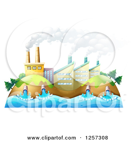 Cartoon of a Factory Polluting Air and Water.