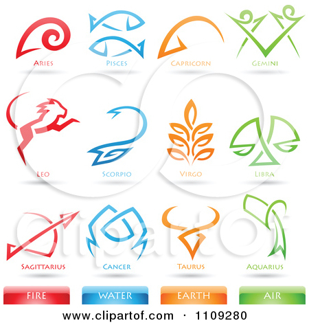 Clipart Astrology Star Signs And Fire Water Earth Air Elements.