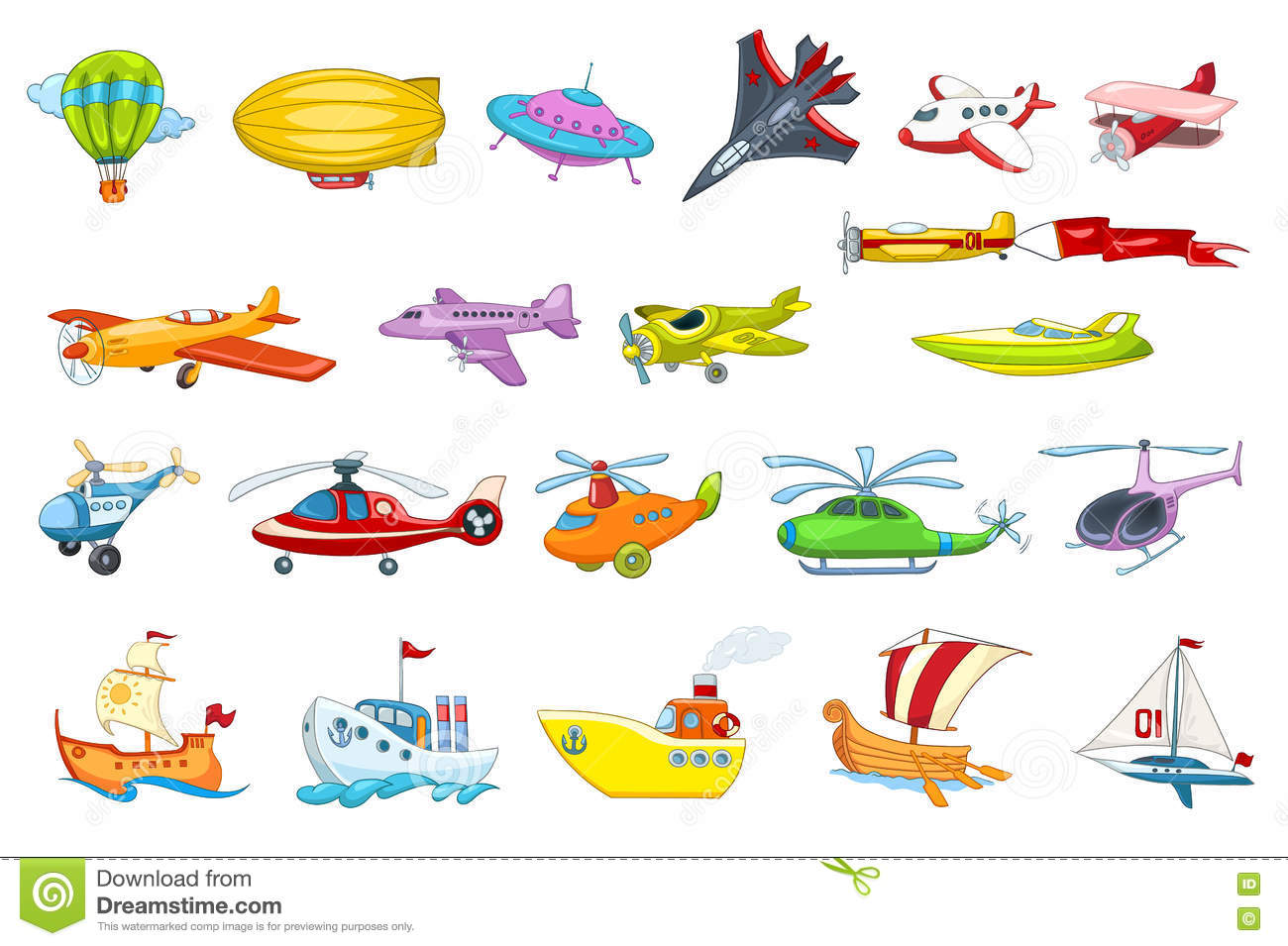 Vector Set Of Air And Water Transport Illustration Stock Vector.