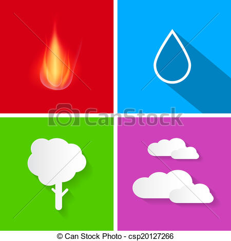 Clip Art Vector of Four Elements Illustration Fire, Water, Air and.