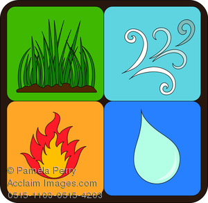 Earth fire air water clipart.