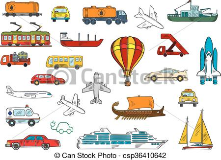EPS Vector of Road, air, railroad, water transportation symbols.