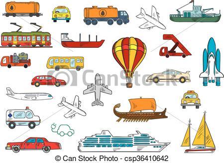 EPS Vector of Road, air, railroad, water transportation symbols.