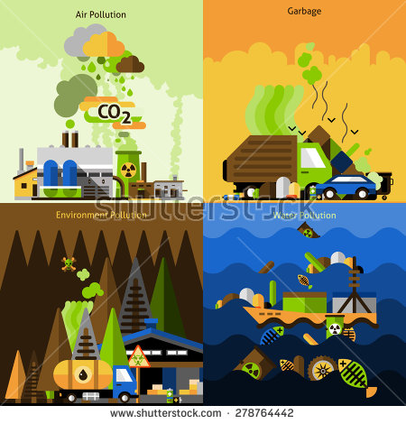 Air and water pollution clipart.