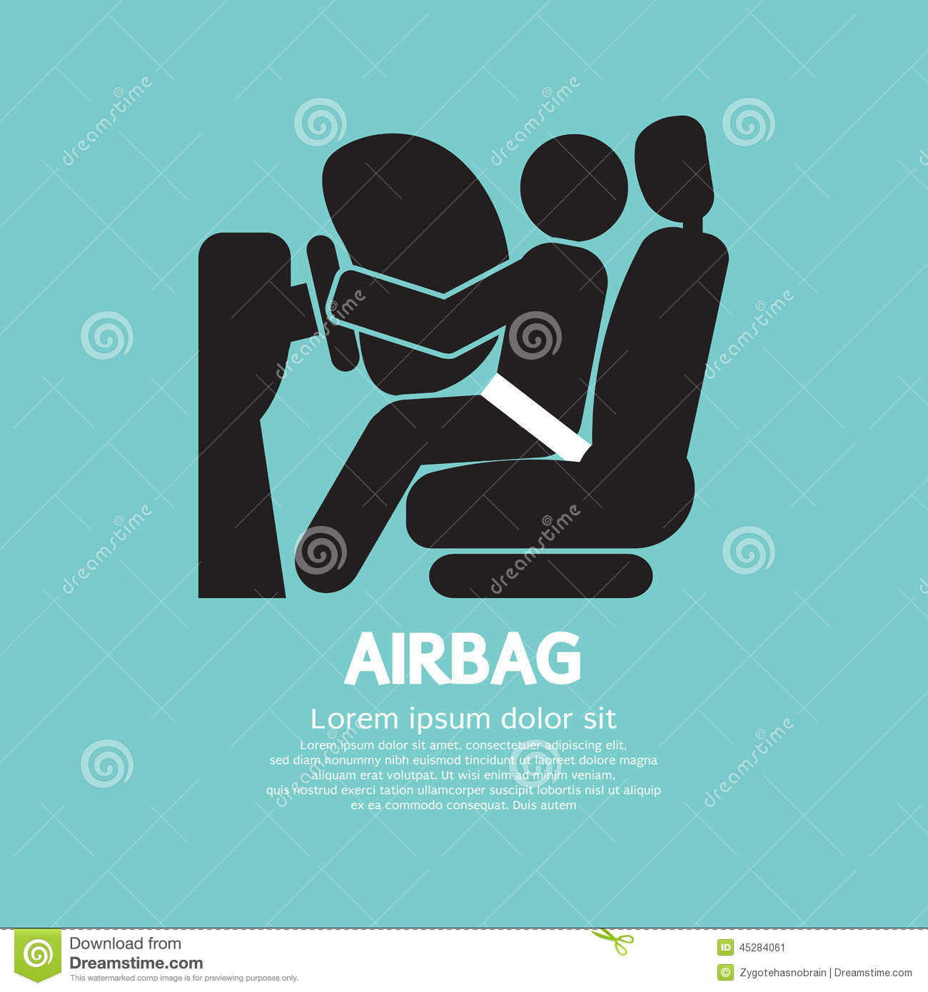Airbag Car Safety Equipment Stock Vector.