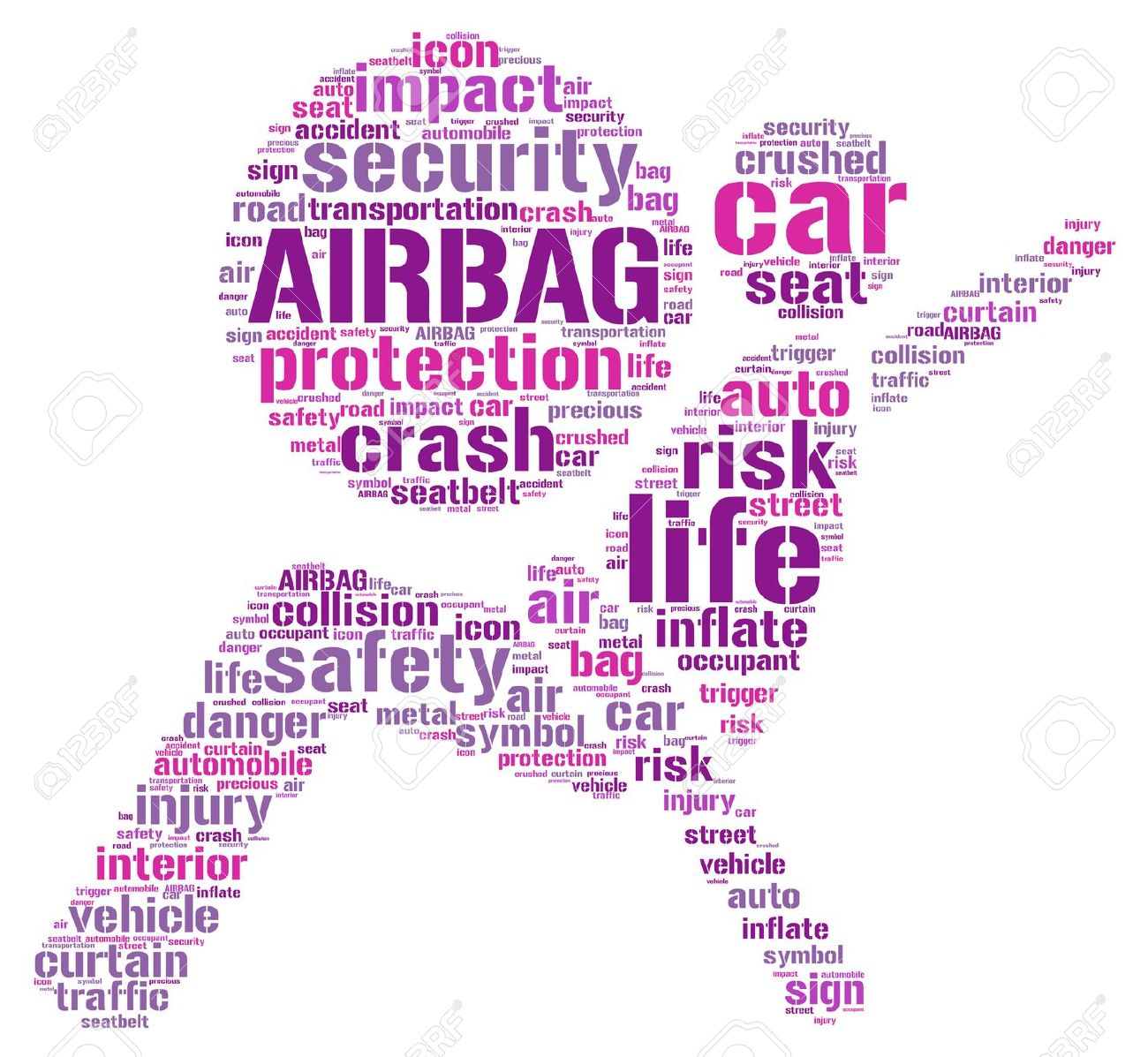 Air Bag Pictogram Tag Cloud Illustration Stock Photo, Picture And.