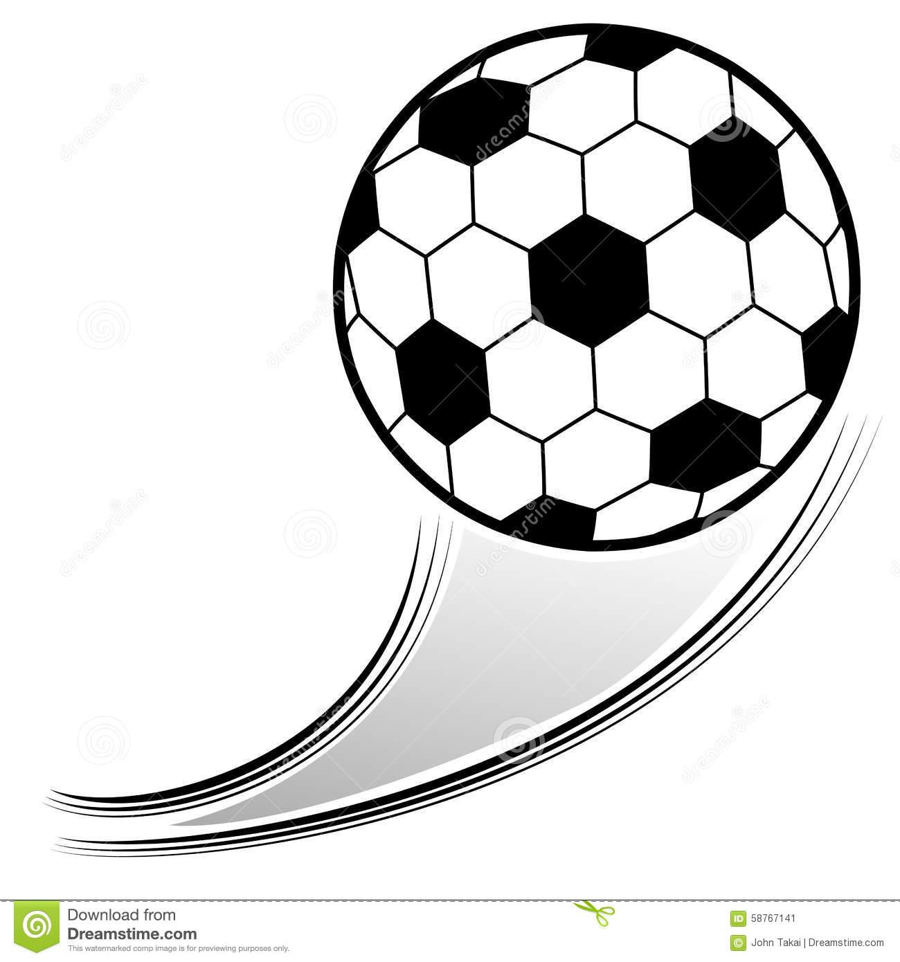 Flying Soccer Ball Stock Vector.