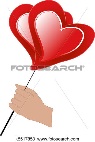 Clip Art of Man hand holds red air ball of heart k5517858.