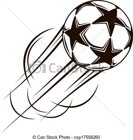 Clip Art Vector of Soccer ball with stars flying through the air.