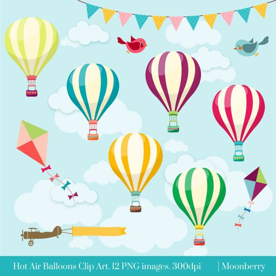 HOT AIR BALLOONS CLIP ART This clip art pack features 12 hot.