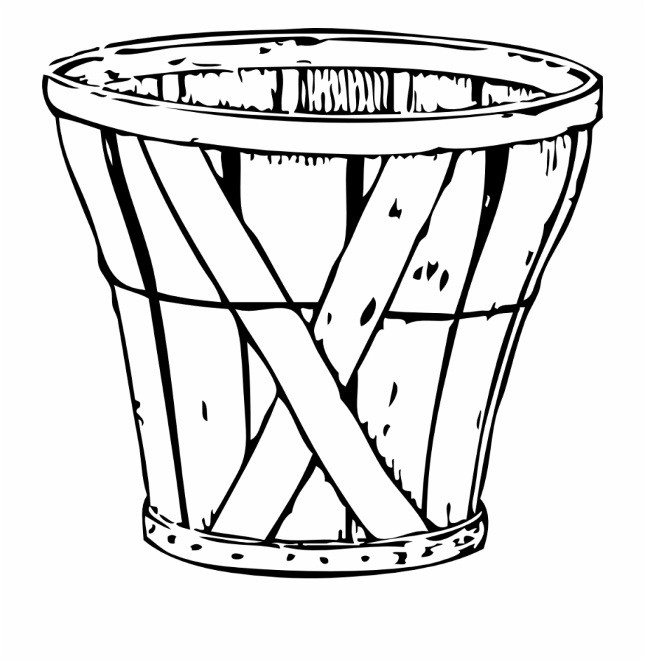 Empty Apple Basket Coloring Page.