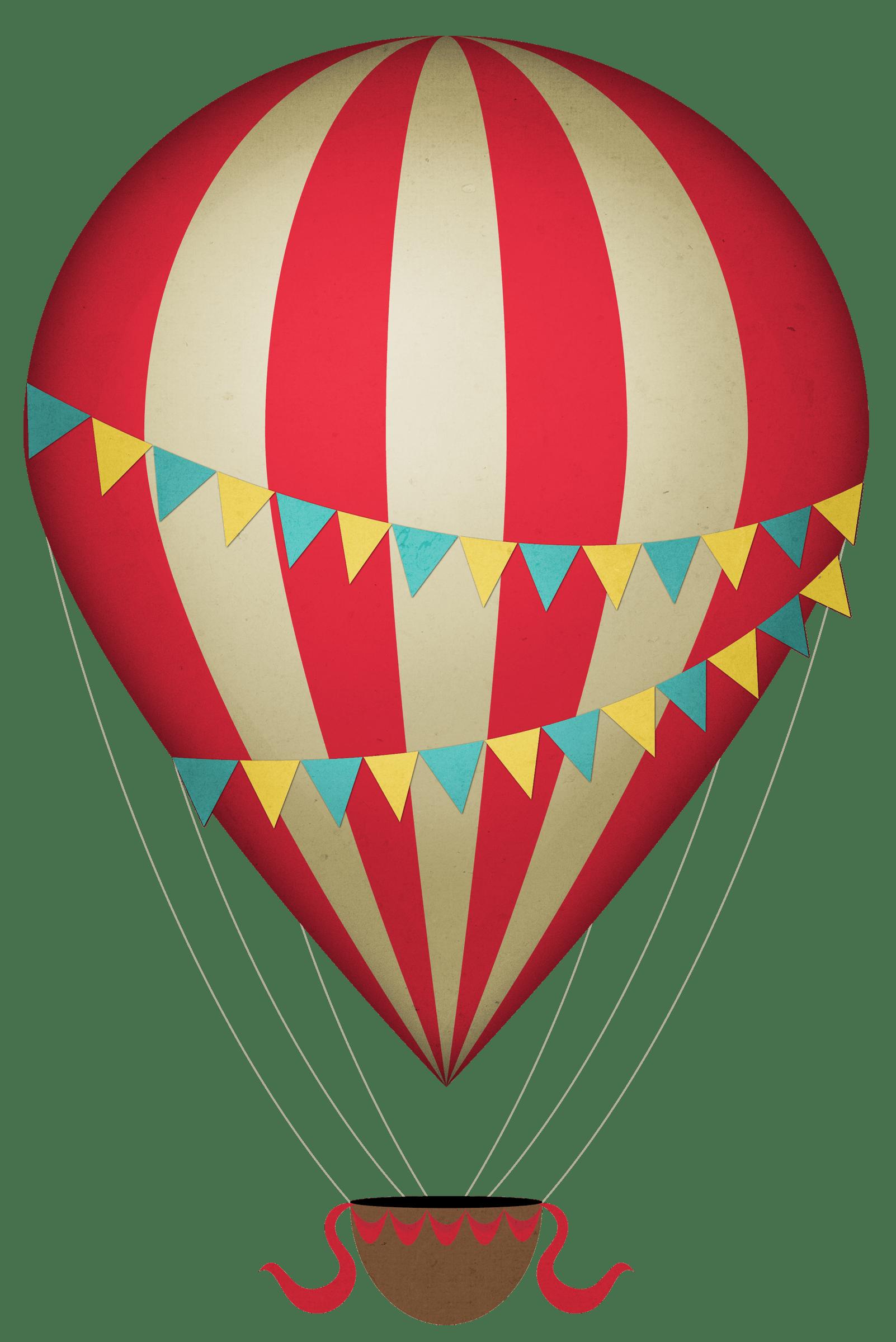 Vintage Clipart Hot Air Balloon transparent PNG.