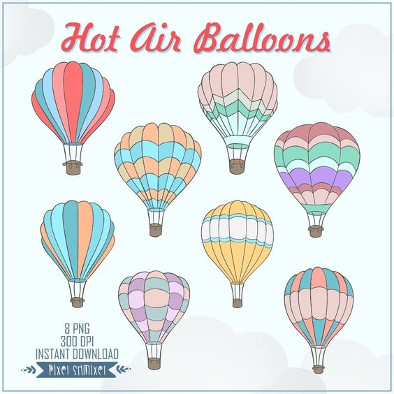 Hot Air Balloons Clip Art, Digital Balloons ClipArt for.