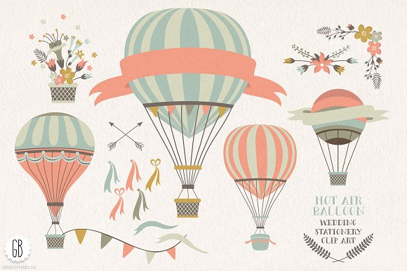 Hot air balloon flowers clip art ~ Illustrations on Creative Market.