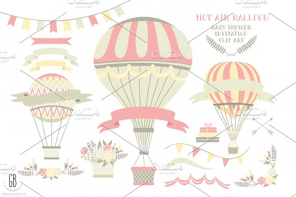 Pink hot air balloons clip art ~ Illustrations on Creative Market.