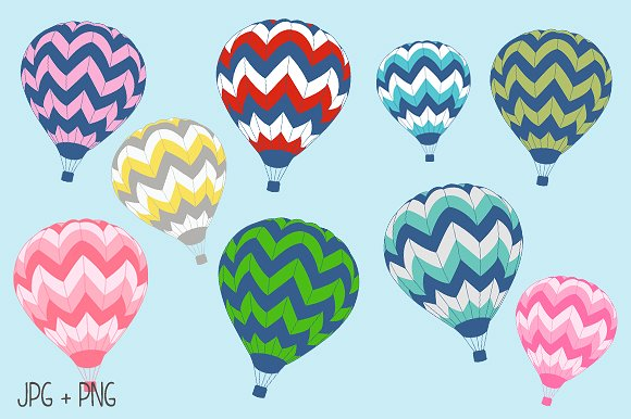 Chalkboard Hot Air Balloon Clipart ~ Illustrations on Creative Market.