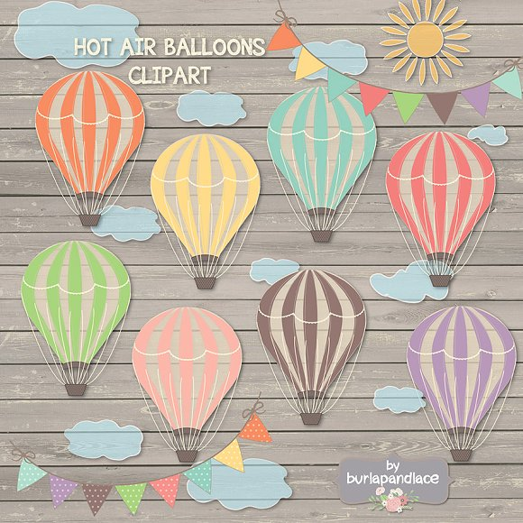 Hot air balloon clipart ~ Illustrations on Creative Market.