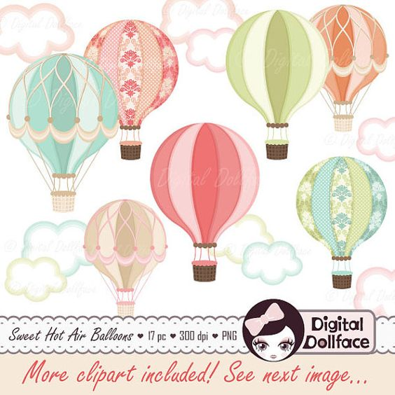 Digital Hot Air Balloon Clipart, Hot Air Balloon Party Printable.