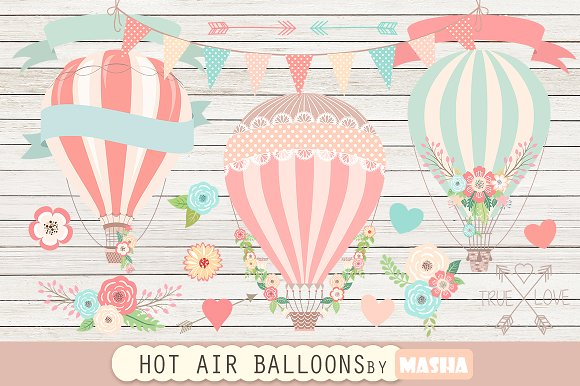 HOT AIR BALLOONS clipart ~ Graphics on Creative Market.