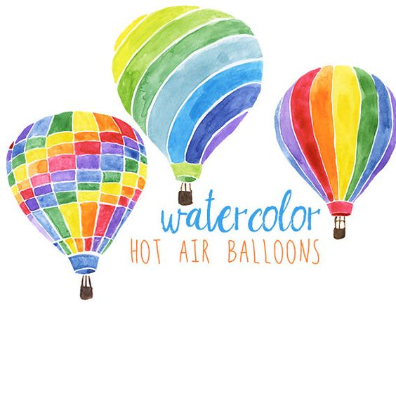 Watercolor Hot Air Balloons Party Festive Clip Art, Hot Air.
