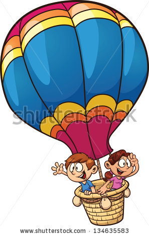 Cartoon Kids Riding Hot Air Balloon Stock Vector 134635583.