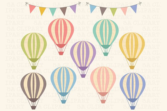 Hot Air Balloon Clip Art ~ Illustrations on Creative Market.