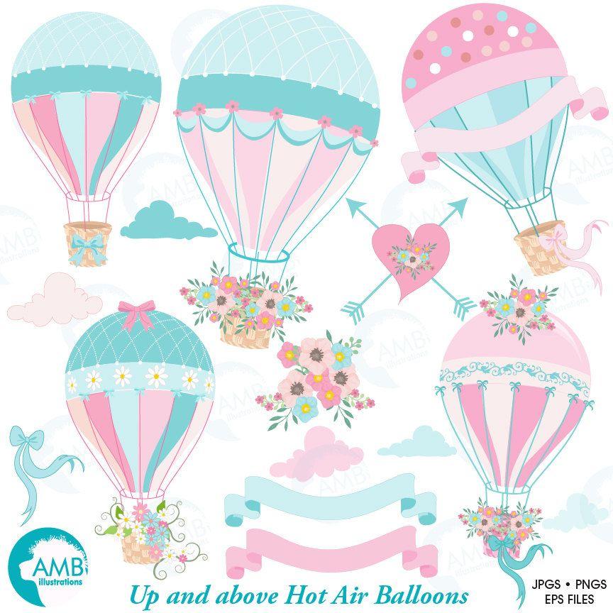 Wedding clipart, Hot Air Balloon Clipart, Bridal Shower.