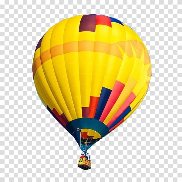 Yellow and multicolored hot air balloon in close.
