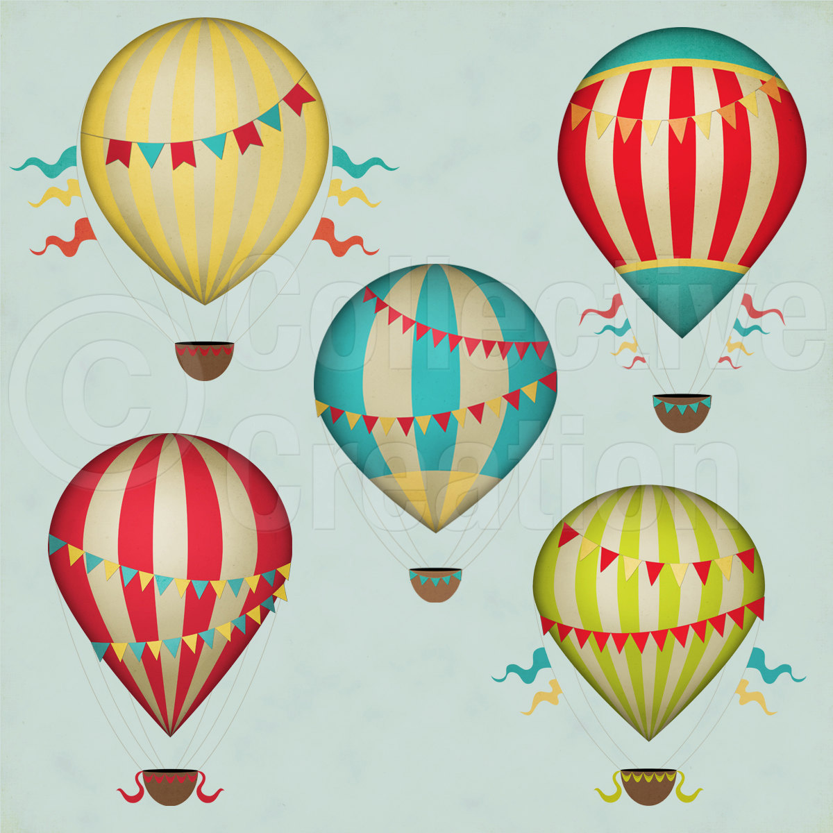 Free download Vintage Hot Air Balloons Digital Clip Art by.