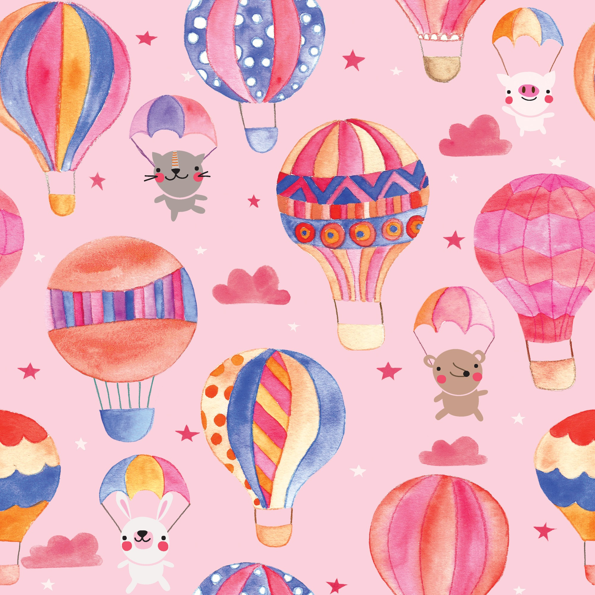 Animals In Hot Air Balloons Pattern.