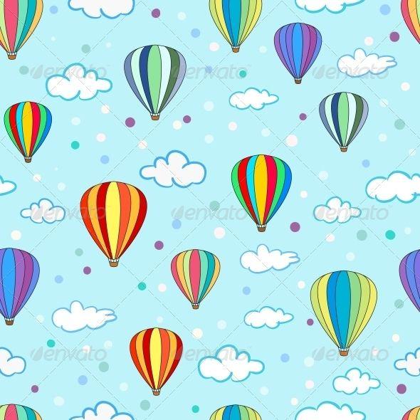 Seamless Hot Air Balloon Pattern.