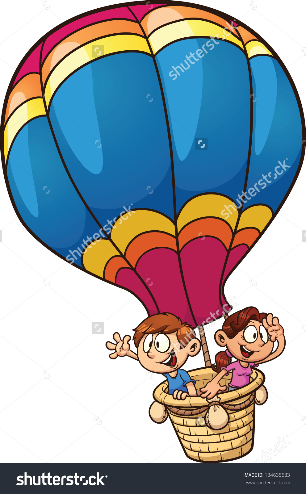 Flying hot air balloon clipart #2