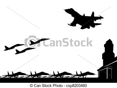 Vector Clipart of The military air base.