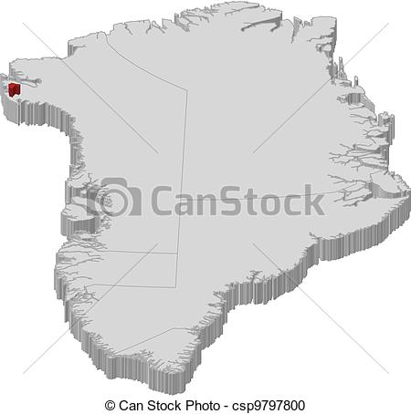 Vector Clipart of Map of Greenland, Thule Air Base highlighted.