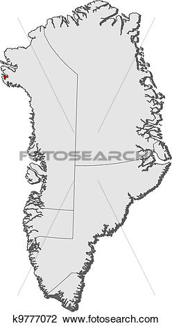 Clipart of Map of Greenland, Thule Air Base highlighted k9777072.