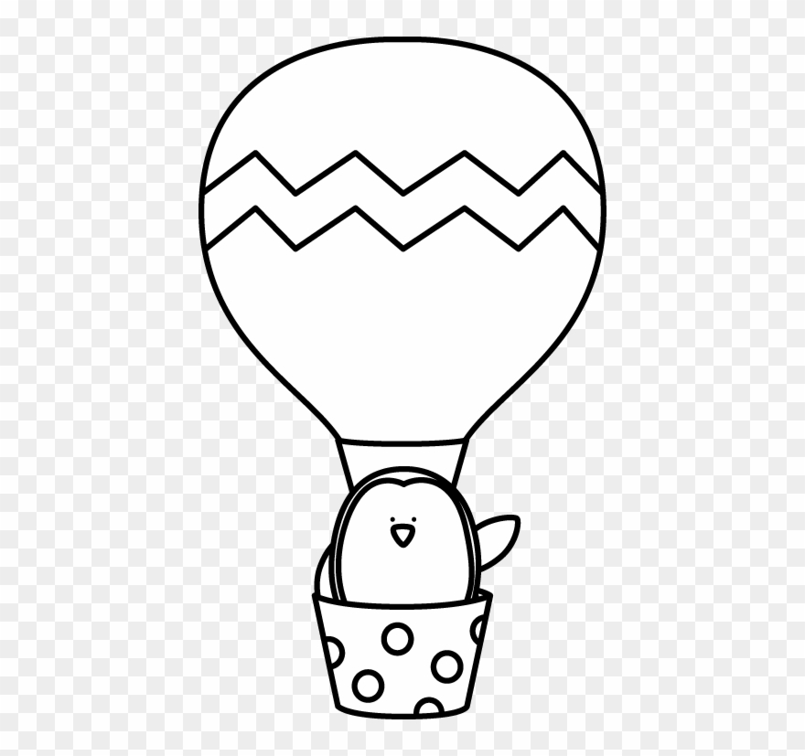 Black And White Penguin In A Hot Air Balloon.