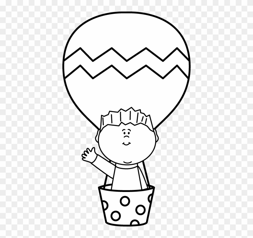 Black And White Boy In A Hot Air Balloon.