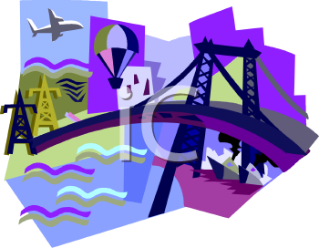 Travel Icon with an Airplane, Bridge, Boats and a Hot Air Balloon.