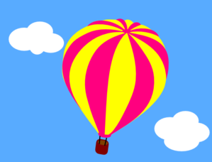 Hot Air Balloon In The Sky With Clouds Clip Art at Clker.com.