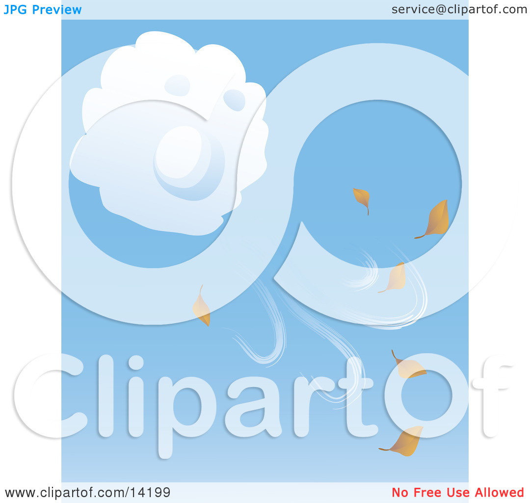 Puffy White Cloud Blowing Fall Leaves Into the Air Clipart.