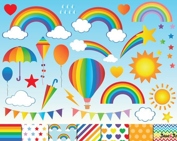 60 Rainbow Clipart,Digital Rainbow Clip Art,cloud clipart,Sky.