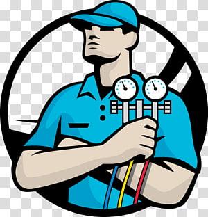 Man holding gauge illustration, Air conditioning Technician.