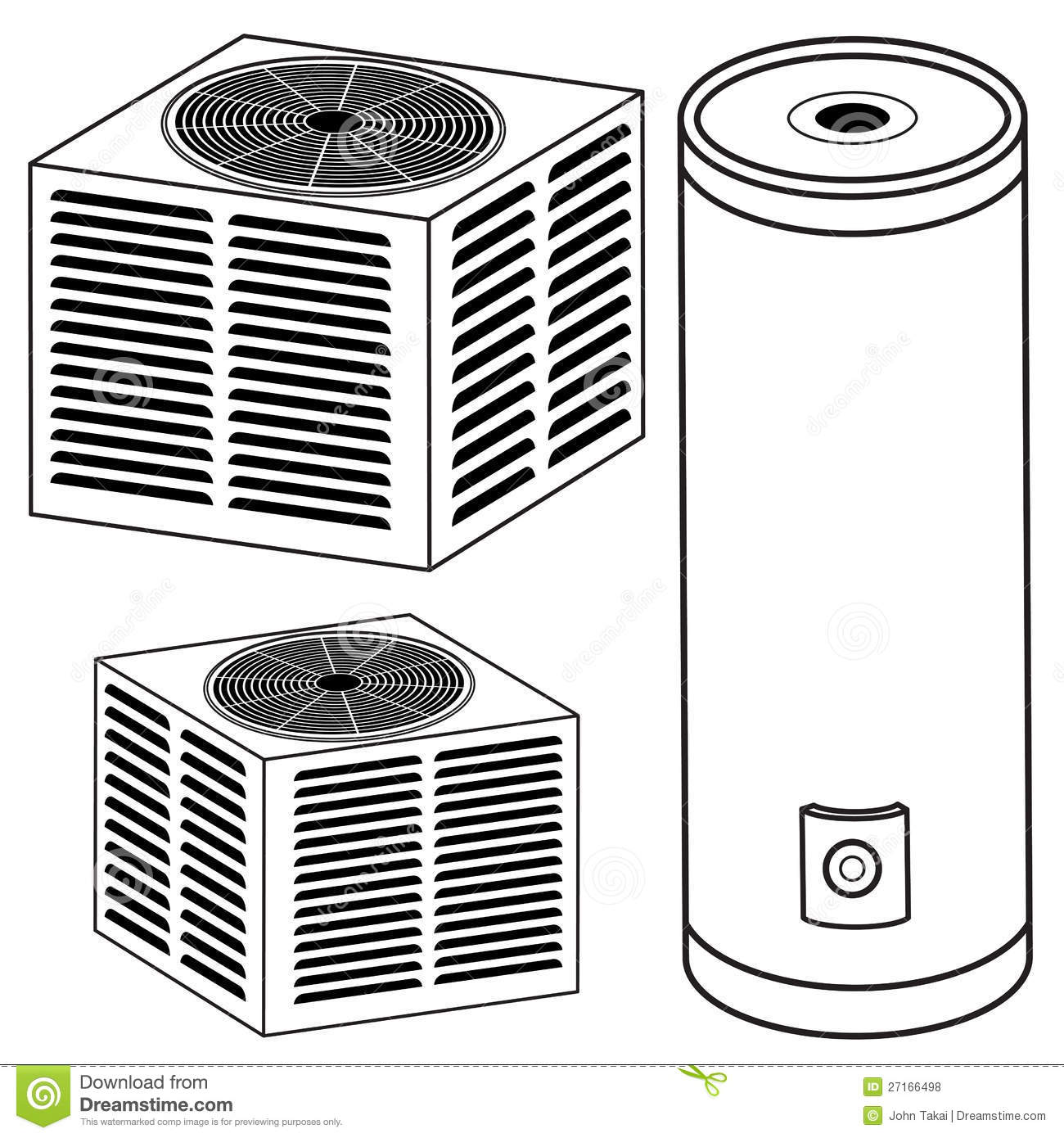 Heating and Air Conditioning System Clip Art.