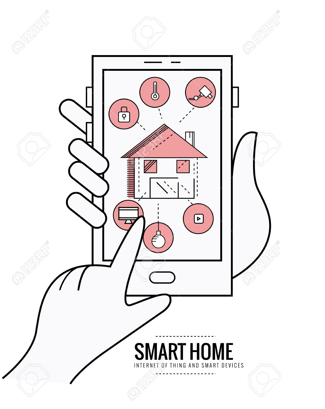 Smart Home Technology System With Centralized Control Of Lighting.