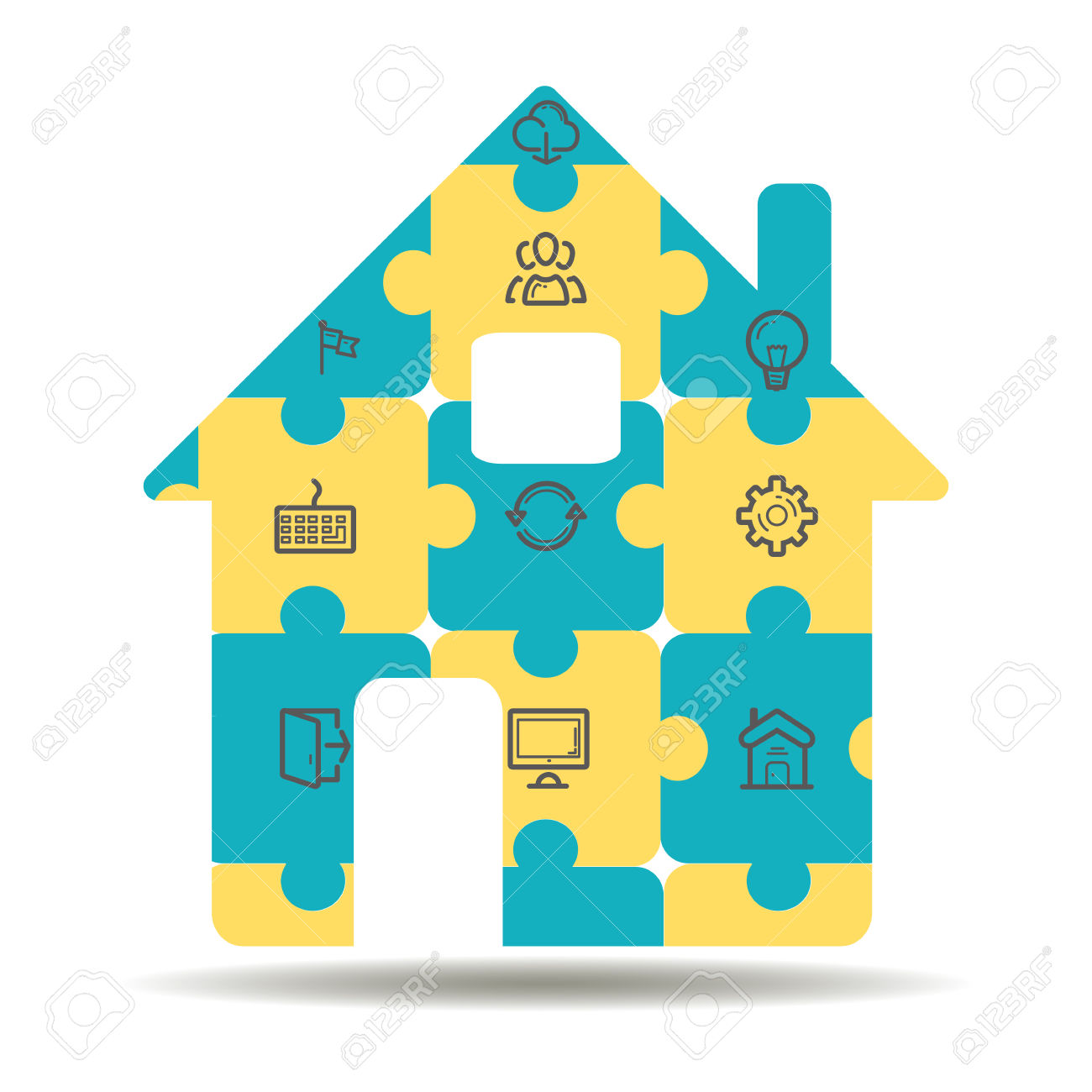 Concept Of Smart House Or Smart Home Technology System With.