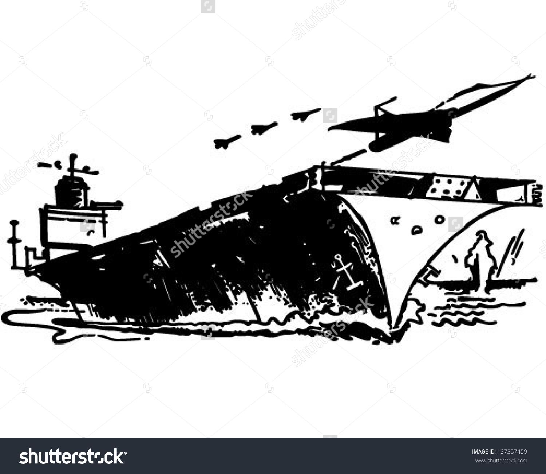 Aircraft Carrier Retro Clip Art Illustration Stock Vector.
