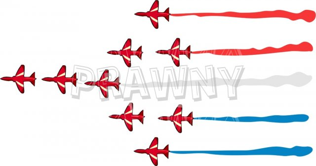 Red Arrows Air Display Aircraft Prawny Transport Clip Art.