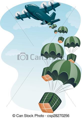 Clipart Vector of Cargo Plane Air Drop.